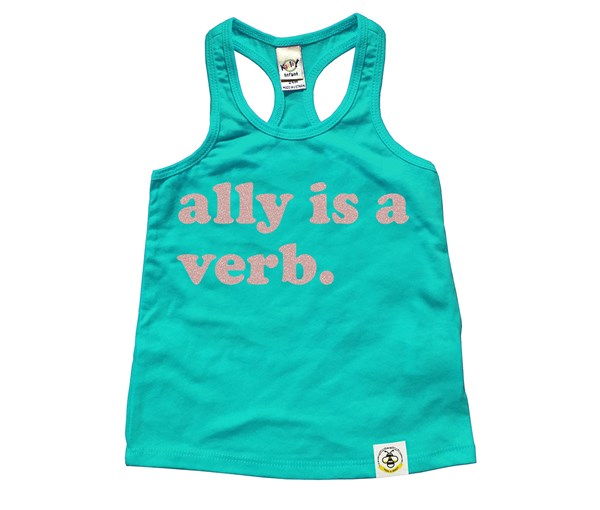 Ally is a Verb (Kids Racer Back Tanks)