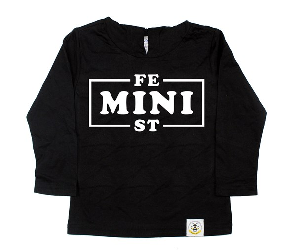 Mini Feminist Hooded Tee (Black)