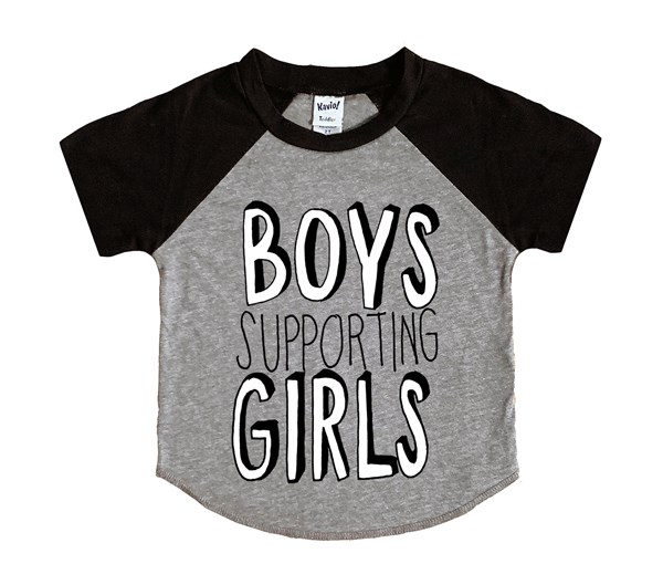 Boys Supporting Girls (Kids Short Sleeve Raglan)