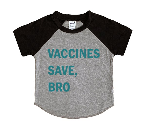 Vaccines Save, Bro-Teal (Kids Short Sleeve Raglan)