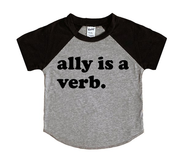 Ally is a Verb (Kids Short Sleeve Raglan)
