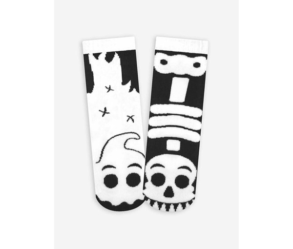 Pals Socks: Ghost and Skeleton Pals Mismatched Socks (Glow in the Dark--Teen/Adult)