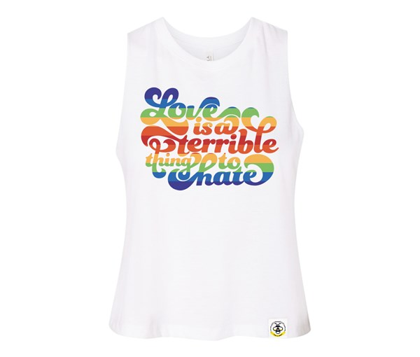 Love is a Terrible Thing to Hate Adult Racerback Cropped Tank