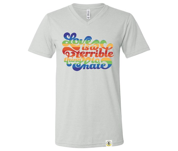 Love is a Terrible Thing to Hate Adult V-Neck (Silver)