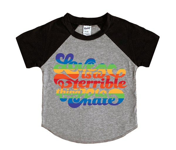 Love is a Terrible Thing to Hate (Kids Short Sleeve Raglan)