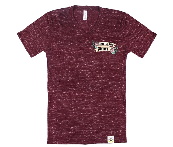 Hustle for Justice V-Neck Adult  (Cranberry)