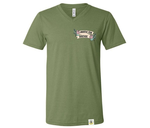 Hustle for Justice Adult V-Neck (Military Green)