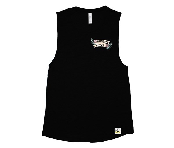 Hustle for Justice Adult Muscle Tank (Black)