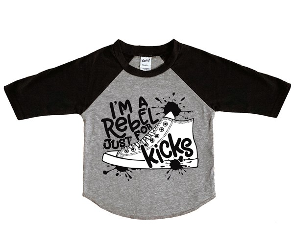 Rebel Just for Kicks Raglan (Grey/Black)