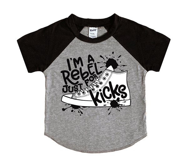 Rebel Just for Kicks (Kids Short Sleeve Raglan)