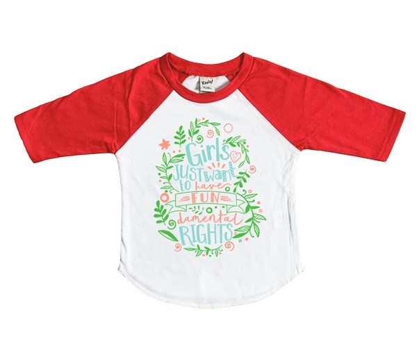 Fundamental Rights Kids Raglan (White/Red)