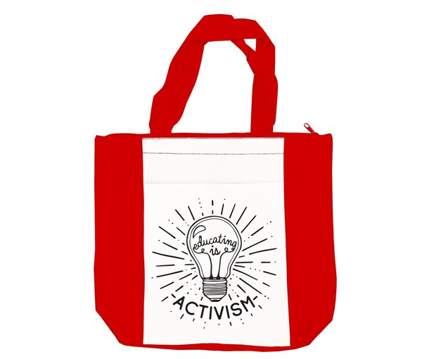 Educating is Activism Tote Bag (Red/White)