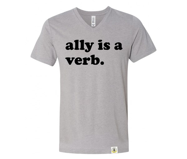 Ally is a Verb V-Neck Adult (Athletic Grey)