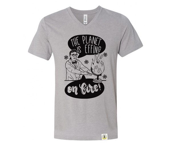 On Fire Adult V-Neck (Athletic Grey)