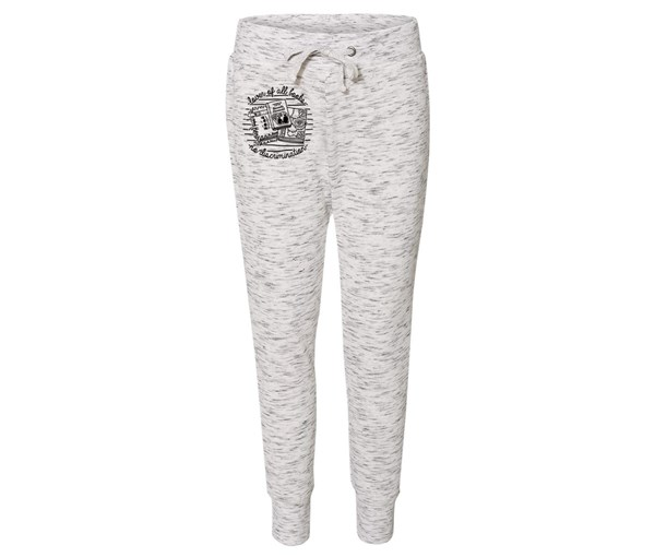 Book Lover Joggers (White/Grey Speckle)