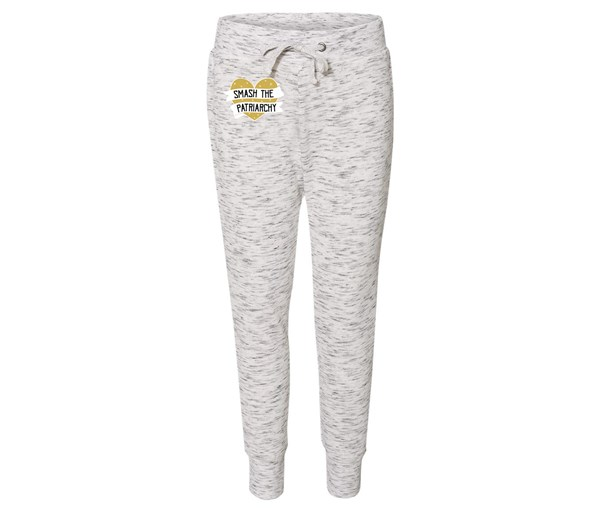 Smash the Patriarchy Joggers (White/Grey Speckle/Gold)