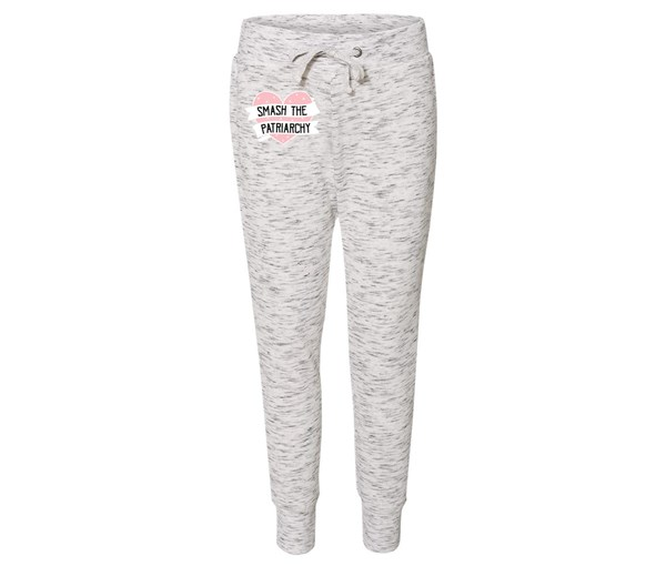 Smash the Patriarchy Joggers (White/Grey Speckle)