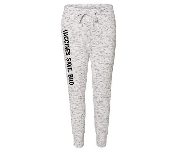 Vaccines Save, Bro Joggers (White/Grey Speckle/Teal)