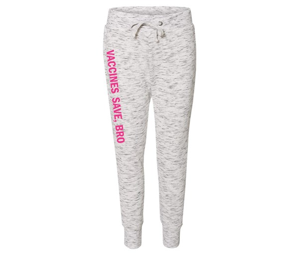 Vaccines Save, Bro Joggers (White/Grey Speckle/Pink)