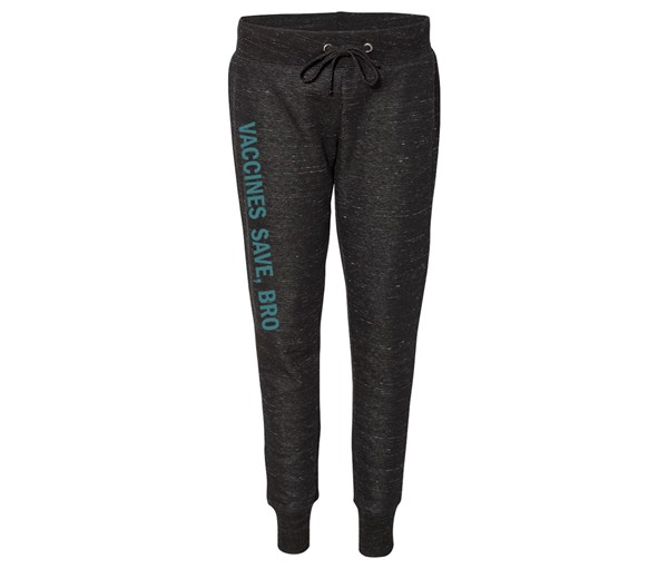 Vaccines Save, Bro Joggers (Black/Teal)