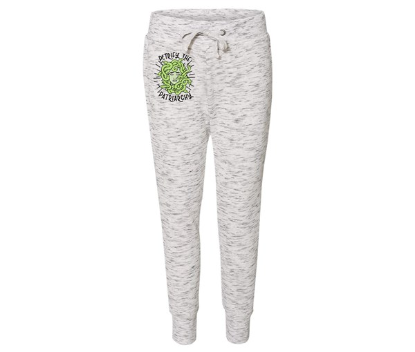 Petrify the Patriarchy Joggers (White/Grey Speckle)