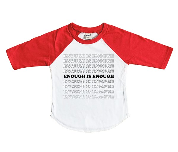 Enough Raglan (White/Red)
