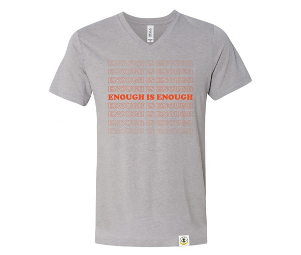 Enough V-Neck Adult (Athletic Grey/Orange)