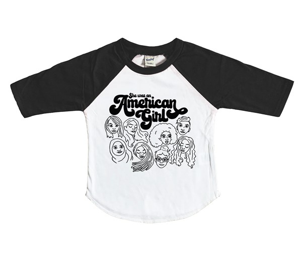 American Girl Raglan (White/Black)