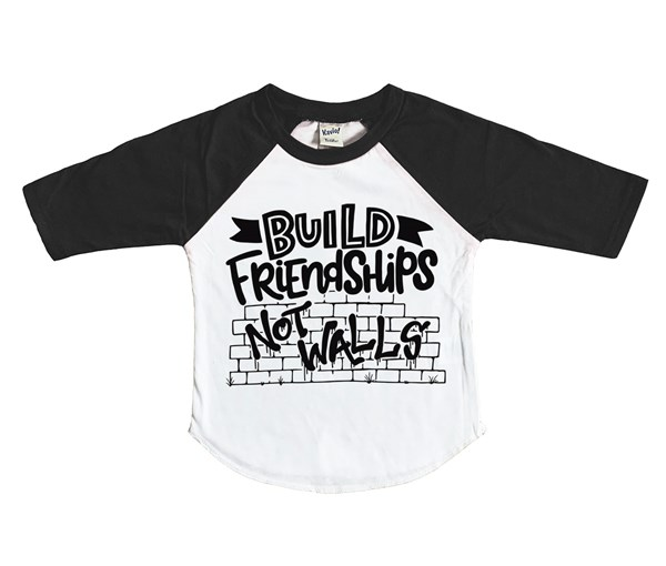 Build Friendships Kids Raglan (White/Black)