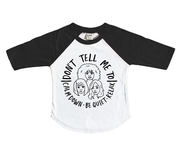 Calm Down Raglan (White/Black)