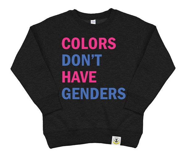Colors Don't Have Genders Kids Sweatshirt (Black)