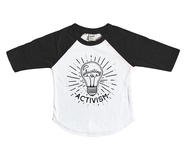 Educating is Activism Raglan (White/Black)