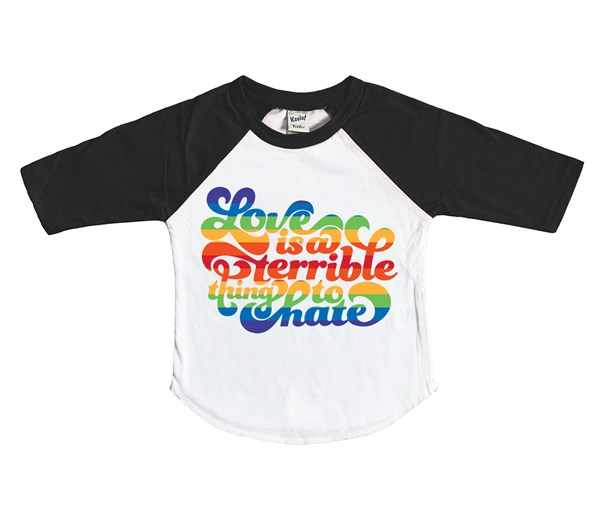 Love is a Terrible Thing to Hate Kids Raglan (White/Black)