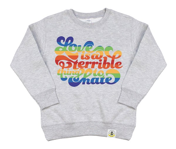 Love is a Terrible Thing to Hate Kids Sweatshirt (Grey)