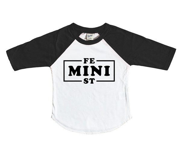 Mini Feminist Raglan (White/Black)
