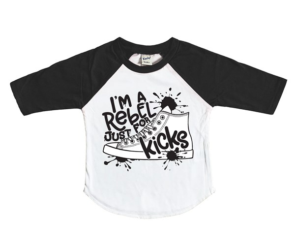 Rebel Just for Kicks Raglan (White/Black)