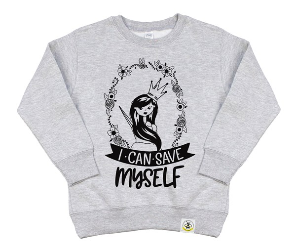 Save Myself Long Hair Kids Sweatshirt (Grey)