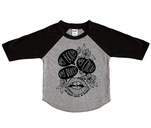 My Body, My Choice Kids Raglan (Grey/Black)