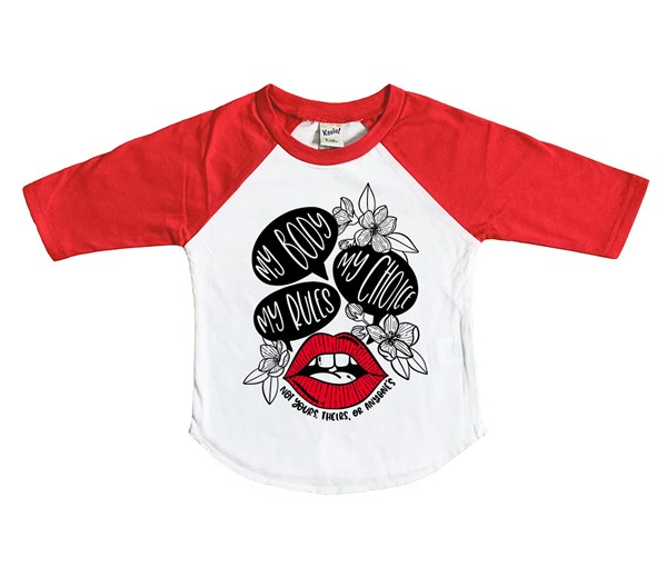 My Body, My Choice-Red Lips (Kids Raglan)