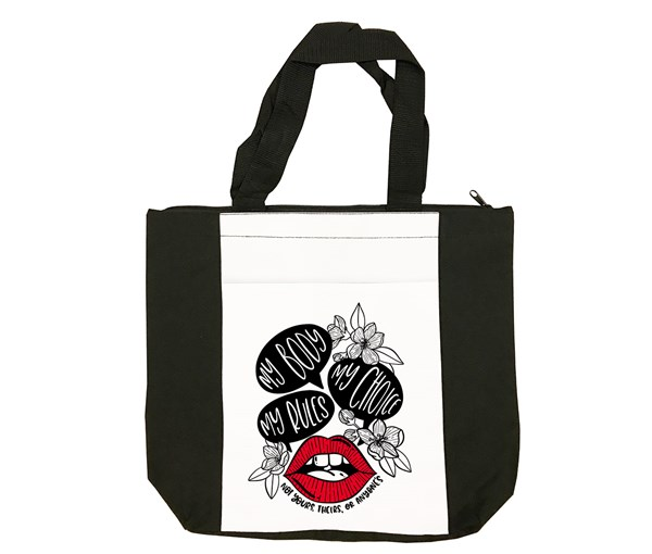 My Body, My Choice Tote Bag (Black/White/Red)
