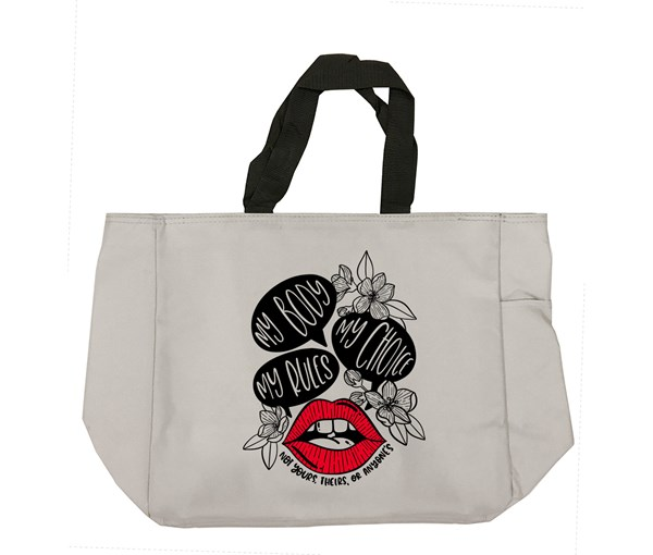 My Body, My Choice Tote Bag (Grey/Red)