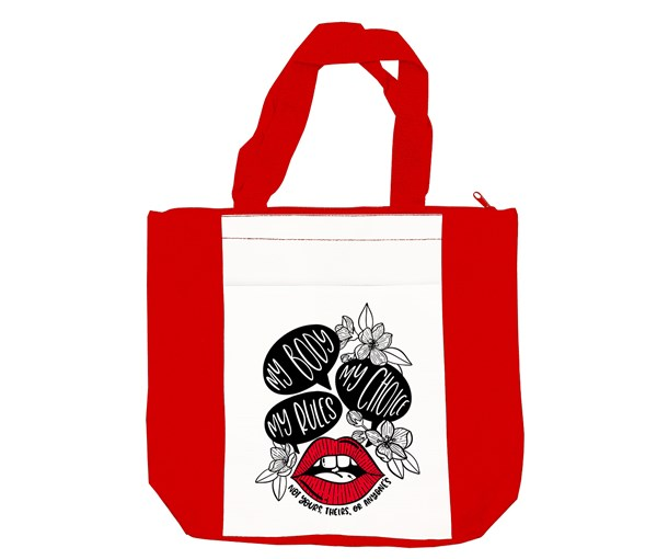 My Body, My Choice Tote Bag (Red/White/Red)