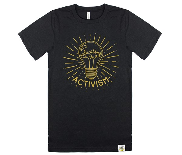 Educating is Activism Adult Crew (Heather Black/Gold)