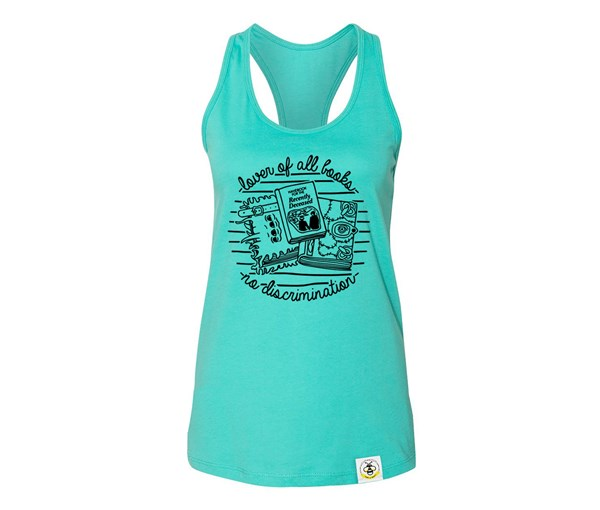Book Lover Adult Flowy Racerback Tank (Teal)
