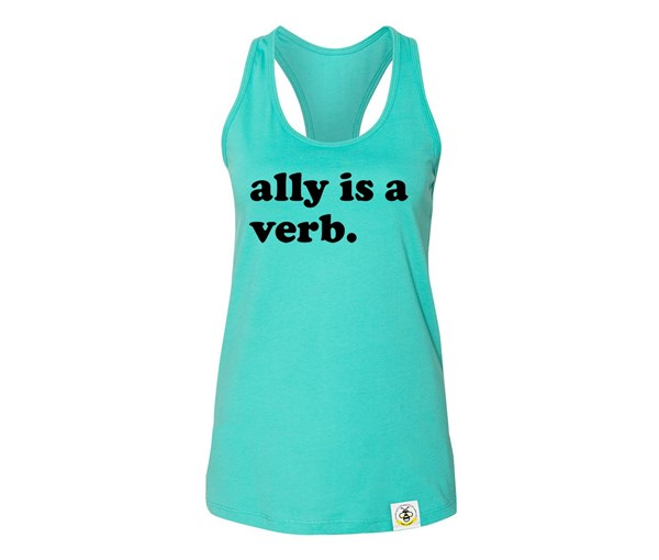 Ally is a Verb Adult Flowy Racerback Tank (Teal/Black)