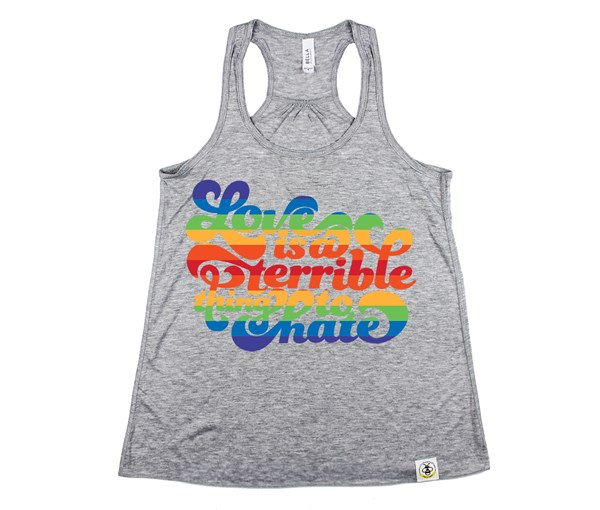 Love is a Terrible Thing to Hate Adult Flowy Racerback Tank