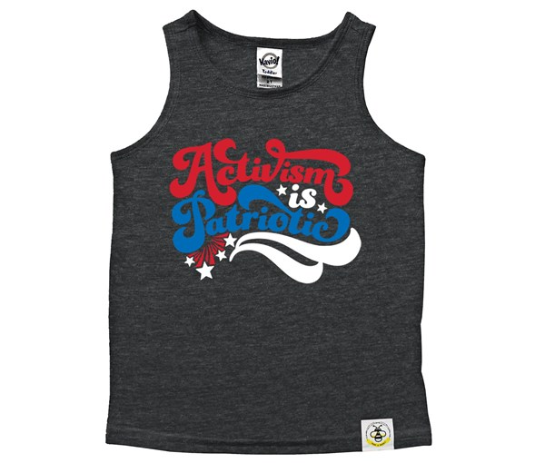 Activism is Patriotic Scoop Neck Tank (Heather Charcoal)