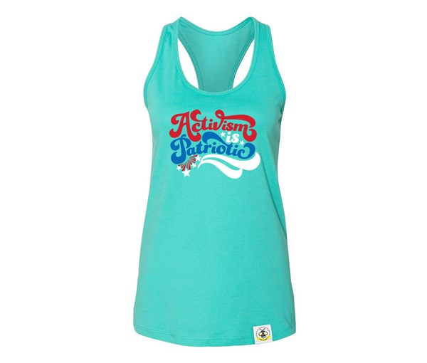 Activism is Patriotic Adult Flowy Racerback Tank (Teal)