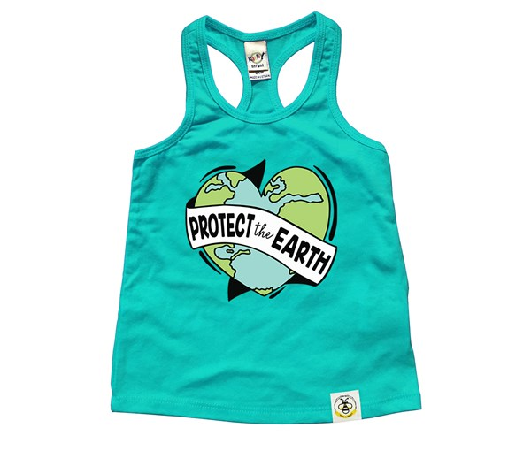 Protect the Earth Kids Racerback Tank (Caribbean Blue)