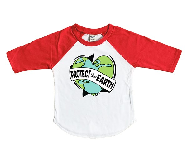 Protect the Earth Kids Raglan (White/Red)